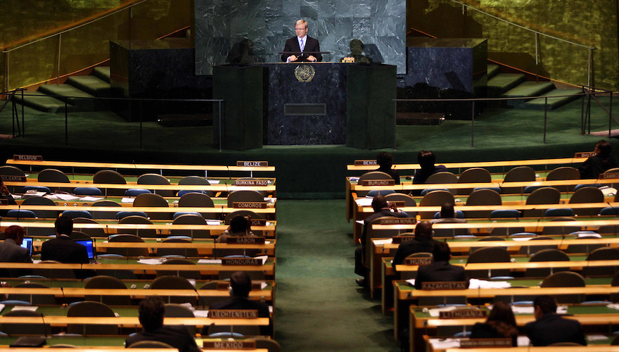 Prime Minister Kevin Rudd makes his speech to a half empty chamber at the General Assembly of the United Nations. Picture by Trevor Collens