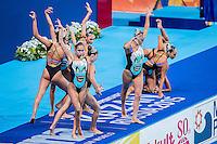 Team Greece GRE<br /> Synchro Women's Team Free Final Free Routine - Kazan Arena<br /> Day08 31/07/2015<br /> XVI FINA World Championships Aquatics Swimming<br /> Kazan Tatarstan RUS July 24 - Aug. 9 2015 <br /> Photo A.Masini/Deepbluemedia/Insidefoto