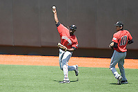 Outfielder Barrett Barnes #8 of the Texas Tech Red Raiders throws the ball to the infield against the Texas Longhorns on April 17, 2011 at UFCU Disch-Falk Field in Austin, Texas. (Photo by Andrew Woolley / Four Seam Images)