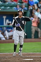 Joel Diaz (5) of the Grand Junction Rockies at bat against the Ogden Raptors in Pioneer League action at Lindquist Field on August 25, 2016 in Ogden, Utah. The Rockies defeated the Raptors 12-3. (Stephen Smith/Four Seam Images)