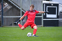 Zac Jones clears during the Central League football match between Miramar Rangers and Lower Hutt AFC at David Farrington Park in Wellington, New Zealand on Saturday, 10 April 2021. Photo: Dave Lintott / lintottphoto.co.nz