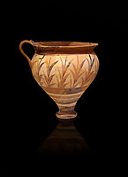 Minoan decorated cup with foliage, Archanes Palace  1600-1450 BC; Heraklion Archaeological  Museum, black background.