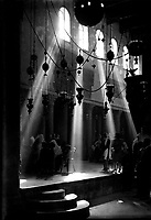 Church of the Nativity, Bethlehem, by American Colony Jerusalem Photo Department, ca. 1925<br /> Undated photograph of interior of an unnamed place of worship in Bethlehem, Palestine, by the American Colony Jerusalem Photo Department, assumed to be the Church of the Nativity, taken in the 1920s. Founded in the late 1890s by Elijah Meyers, the photo agency was headed during its heyday (ca. 1903-1933) by Lewis Larsson, whose staff photographers included Erik Lind, Lars Lind, Furman Baldwin, and G. Eric Matson.