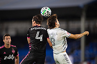 LAKE BUENA VISTA, FL - JULY 27: Gustav Svensson #4 of the Seattle Sounders and Francisco Ginella #8 of LAFC battle for the ball during a game between Seattle Sounders FC and Los Angeles FC at ESPN Wide World of Sports on July 27, 2020 in Lake Buena Vista, Florida.