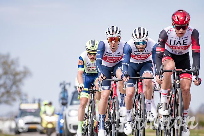 Edward Theuns (BEL/Trek-Segafredo) & Julien Bernard (FRA/Trek - Segafredo)<br /> <br /> 55th Amstel Gold Race 2021 (1.UWT)<br /> 1 day race from Valkenburg to Berg en Terblijt; raced on closed circuit (NED/217km)<br /> <br /> ©kramon
