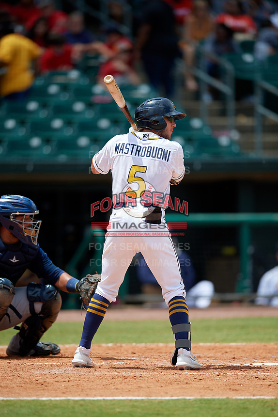 Montgomery Biscuits Miles Mastrobuoni (5) at bat during a Southern League game against the Mobile BayBears on May 2, 2019 at Riverwalk Stadium in Montgomery, Alabama.  Mobile defeated Montgomery 3-1.  (Mike Janes/Four Seam Images)