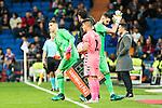 "Real Madrid's Kiko Casilla, Ruben Yanez during the match of ""Copa del Rey"" between Real Madrid and Cultural Leonesa at Santiago Bernabeu Stadium in Madrid, Spain. November 29, 2016. (ALTERPHOTOS/Rodrigo Jimenez)"
