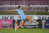 Casey Nogueira (27) of Sky Blue FC shoots and scores the game winning goal. Sky Blue FC defeated the Philadelphia Independence 2-0 during a Women's Professional Soccer (WPS) match at Yurcak Field in Piscataway, NJ, on July 23, 2011.