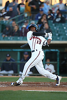 Mylz Jones (13) of the Lancaster JetHawks bats against the Stockton Ports at The Hanger on May 12, 2017 in Lancaster, California. Lancaster defeated Stockton, 7-2. (Larry Goren/Four Seam Images)