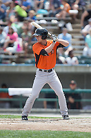 Drew Dosch (28) of the Frederick Keys at bat against the Lynchburg Hillcats at Calvin Falwell Field at Lynchburg City Stadium on May 14, 2015 in Lynchburg, Virginia.  The Hillcats defeated the Keys 6-3.  (Brian Westerholt/Four Seam Images)