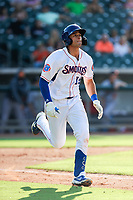 Tennessee Smokies third baseman Chase Strumpf (19) rounds the bases after hitting a home run against the Rocket City Trash Pandas at Smokies Stadium on July 2, 2021, in Kodak, Tennessee. (Danny Parker/Four Seam Images)
