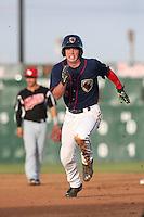 Brett Phillips (6) of the Lancaster JetHawks runs the bases during a game against the High Desert Mavericks at The Hanger on May 19, 2015 in Lancaster, California. Lancaster defeated High Desert, 8-7. (Larry Goren/Four Seam Images)