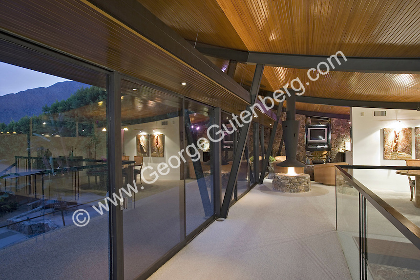 Contemporary living room with walls of glass