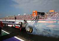 Apr 25, 2014; Baytown, TX, USA; NHRA top fuel dragster driver Clay Millican during qualifying for the Spring Nationals at Royal Purple Raceway. Mandatory Credit: Mark J. Rebilas-