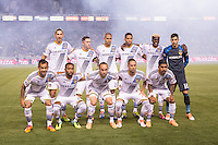 CARSON, CA - March 8, 2014: Los Angeles Galaxy Starting Line Up for the LA Galaxy vs Real Salt Lake match at the StubHub Center in Carson, California. Final score, LA Galaxy 0, Real Salt Lake  1.