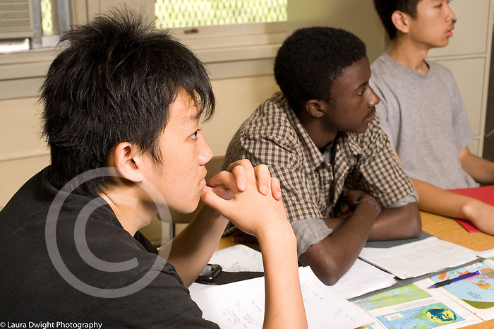 Education High School public male students listening in mathematics class horizontal