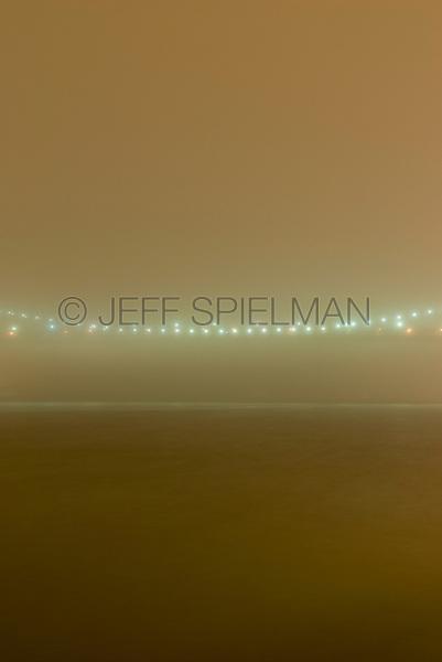 Brooklyn Bridge and East River on a Foggy Night, Lower Manhattan, New York City, New York State, USA