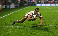 Saturday 22nd February 2020 | Ulster vs Cheetahs<br /> <br /> Robert Baloucoune scores Ulster's second try during the PRO14 Round 12 clash between Ulster and the Cheetahs at Kingspan Stadium, Ravenhill Park, Belfast, Northern Ireland. Photo by John Dickson / DICKSONDIGITAL