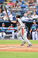 Aberdeen IronBirds Jordan Westburg (16) swings at a pitch during a game against the Asheville Tourists on June 19, 2021 at McCormick Field in Asheville, NC. (Tony Farlow/Four Seam Images)
