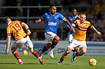 27.09.2020 Motherwell v Rangers:  Alfredo Morelos bursts between Liam Polworth and Allan Campbell