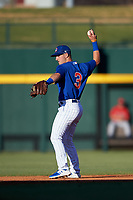 AZL Cubs 1 second baseman Zack Short (3) throws to the shortstop during a rehab assignment in an Arizona League game against the AZL Angels on June 24, 2019 at Sloan Park in Mesa, Arizona. AZL Cubs 1 defeated the AZL Angels 12-0. (Zachary Lucy / Four Seam Images)