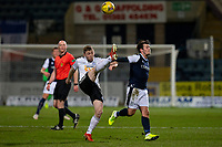 16th March 2021; Dens Park, Dundee, Scotland; Scottish Championship Football, Dundee FC versus Ayr United; Jordan Houston of Ayr United clears overhyead from Danny Mullen of Dundee
