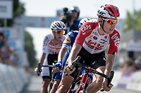 Jelle Wallays (BEL/Lotto-Soudal) as part of the 4-man breakaway group with the impressive 19yr old Remco Evenepoel (BEL/Deceuninck - Quick Step) as the main engine and fellow escapees Stan Dewulf (BEL/Lotto-Soudal) & Dries de Bondt (BEL/Corendon Circus)<br /> <br /> Belgian National Road Championships 2019 - Gent<br /> <br /> ©kramon