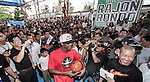 NBA's player and Red Bull athlete Rajon Rondo attends the opening of a restored basketball court as part of his Asia Tour at the San Juan National High School's Barangay Corazon de Jesus on August 28, 2012 in Manila, Philippines. Photo by Victor Fraile / The Power of Sport Images
