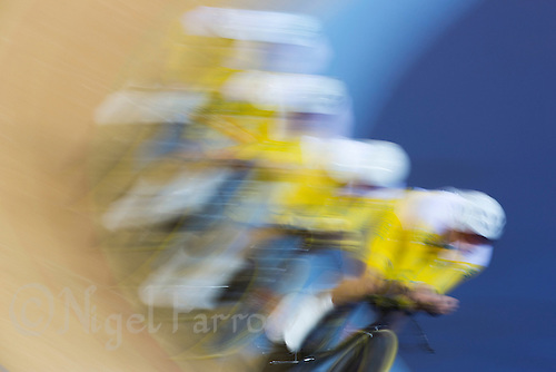 03 AUG 2012 - LONDON, GBR - The men's team from Australia (AUS) race against New Zealand during their Team Pursuit first round race at the London 2012 Olympic Games in the Olympic Park Velodrome in Stratford, London, Great Britain (PHOTO (C) 2012 NIGEL FARROW)