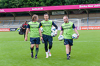 The management team during the Open Training Session in front of supporters during the Wycombe Wanderers 2016/17 Team & Individual Squad Photos at Adams Park, High Wycombe, England on 1 August 2016. Photo by Jeremy Nako.