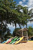 Praia da Concha, Itacare, Bahia State, Brazil. Tourist canoes on the beach.