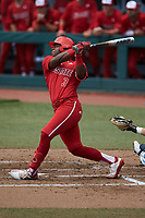 Devonte Brown (3) of the North Carolina State Wolfpack follows through on his swing against the North Carolina Tar Heels at Boshamer Stadium on March 27, 2021 in Chapel Hill, North Carolina. (Brian Westerholt/Four Seam Images)