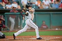Nick Franklin (14) of the Salt Lake Bees at bat against the Sacramento River Cats at Smith's Ballpark on July 18, 2019 in Salt Lake City, Utah. The Bees defeated the River Cats 9-6. (Stephen Smith/Four Seam Images)