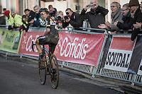 Jolien Verschueren (BEL/Telenet-Fidea) looking back after finishing 2nd to check how far ahead she is on the 3rd<br /> <br /> Elite Women's Race<br /> Soudal Jaarmarktcross Niel 2016