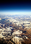 Snow caped mountains of Colorado viewed from above