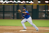 AZL Rangers first baseman Tyreque Reed (5) prepares to catch a ball during a game against the AZL Giants on September 4, 2017 at Scottsdale Stadium in Scottsdale, Arizona. AZL Giants defeated the AZL Rangers 6-5 to advance to the Arizona League Championship Series. (Zachary Lucy/Four Seam Images)