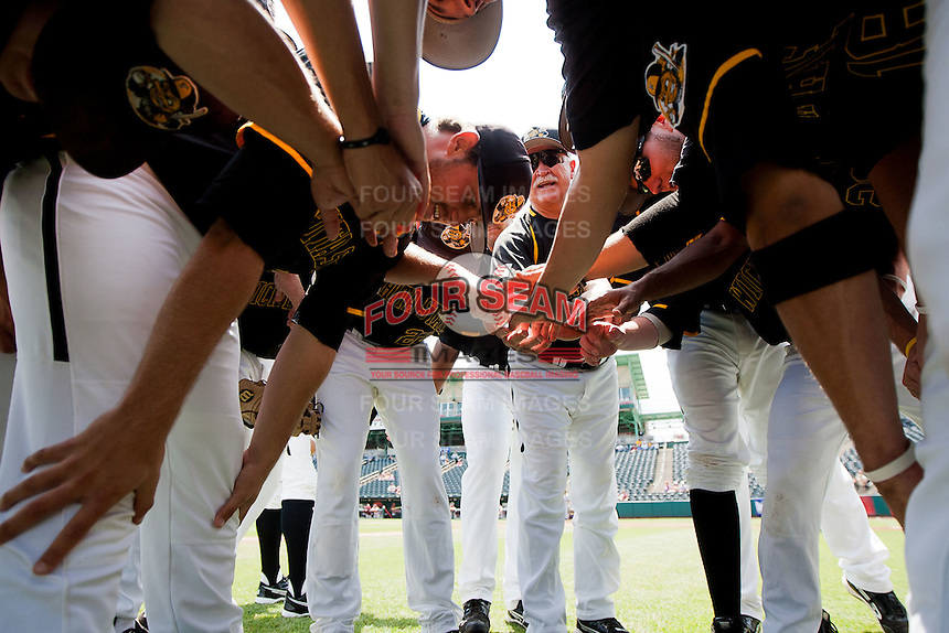 Head Coach Gene Stephenson (10) of the Wichita State Shockers tries to pump up his team prior to a game against the Missouri State Bears in the 2012 Missouri Valley Conference Championship Tournament at Hammons Field on May 23, 2012 in Springfield, Missouri. (David Welker/Four Seam Images)