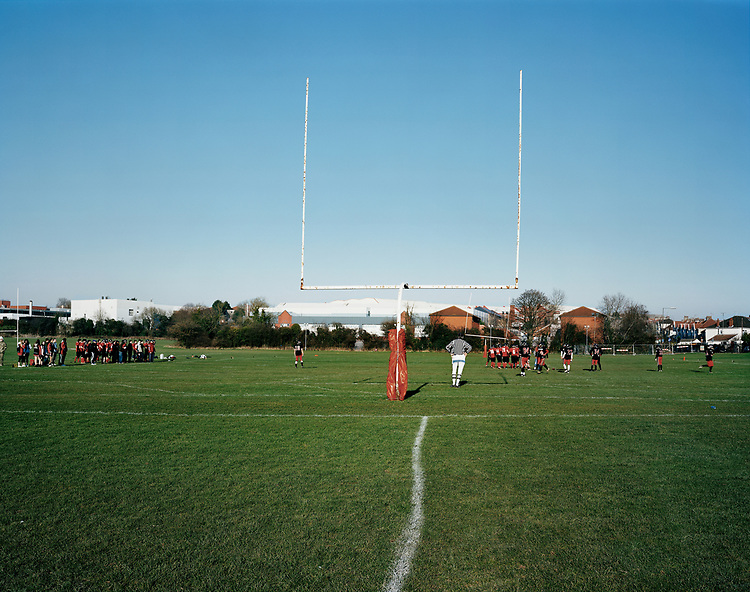 © John Angerson<br /> Bristol <br /> Cardiff Cobras versus Bristol Bullocks during an American football match at the sports ground of the British Aerospace welfare association. British aerospace built the supersonic plane Concorde that was in service from 1976 and continued for 27 years. Concorde's 'final retirement' flight landed at Bristol Filton Airport.