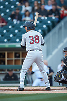 Kyle Higashioka (38) of the Scranton/Wilkes-Barre RailRiders at bat against the Charlotte Knights at BB&T BallPark on April 12, 2018 in Charlotte, North Carolina.  The RailRiders defeated the Knights 11-1.  (Brian Westerholt/Four Seam Images)
