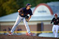 State College Spikes relief pitcher Troy Montemayor (16) looks in for the sign during a game against the Batavia Muckdogs on July 7, 2018 at Dwyer Stadium in Batavia, New York.  State College defeated Batavia 7-4.  (Mike Janes/Four Seam Images)