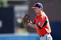 Illinois Fighting Illini pitcher Matthew James (17) looks to his catcher for the sign against the Michigan Wolverines during the NCAA baseball game on April 8, 2017 at Ray Fisher Stadium in Ann Arbor, Michigan. Michigan defeated Illinois 7-0. (Andrew Woolley/Four Seam Images)