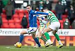 St Johnstone v Celtic…..01.03.20   McDiarmid Park   Scottish Cup Quarter Final<br />Matt Butcher turns Tom Rogic<br />Picture by Graeme Hart.<br />Copyright Perthshire Picture Agency<br />Tel: 01738 623350  Mobile: 07990 594431