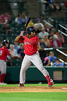 Worcester Red Sox Johan Mieses (39) bats during a game against the Rochester Red Wings on September 3, 2021 at Frontier Field in Rochester, New York.  (Mike Janes/Four Seam Images)
