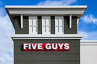 Five Guys restaurant exterior, Orlando, Florida, USA.