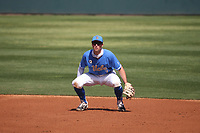 J.T. Schwartz (7) of the UCLA Bruins during a game against the Arizona Wildcats at Jackie Robinson Stadium on March 20, 2021 in Los Angeles, California. Arizona defeated UCLA, 7-3. (Larry Goren/Four Seam Images)