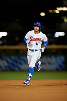 Buffalo Bisons Christian Lopes (11) runs the bases after hitting a home run during a game against the Pawtucket Red Sox on August 31, 2017 at Coca-Cola Field in Buffalo, New York.  Buffalo defeated Pawtucket 4-2.  (Mike Janes/Four Seam Images)