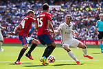 Real Madrid's player Gareth Bale and Osasuna's Miguel Flaño and Unai Garcia during a match of La Liga Santander at Santiago Bernabeu Stadium in Madrid. September 10, Spain. 2016. (ALTERPHOTOS/BorjaB.Hojas)