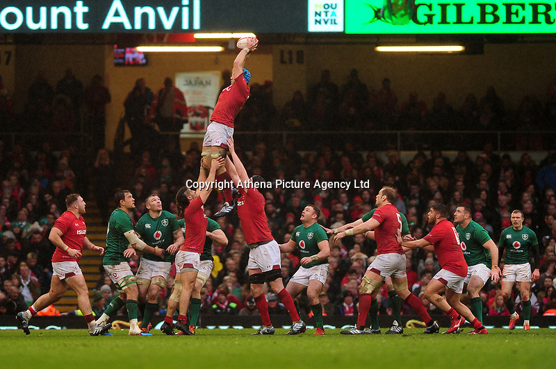 Pictured: Justin Tipuric of Wales in action during the Guinness six nations match between Wales and Ireland at the Principality Stadium, Cardiff, Wales, UK.<br /> Saturday 16 March 2019