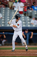 Connecticut Tigers third baseman Cam Warner (44) at bat during a game against the Lowell Spinners on August 26, 2018 at Dodd Stadium in Norwich, Connecticut.  Connecticut defeated Lowell 11-3.  (Mike Janes/Four Seam Images)