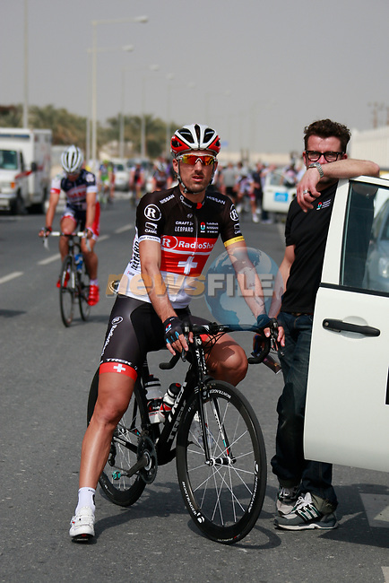 Fabian Cancellara (SUI) Radioshack-Nissan Trek at the start of Stage 1 of the Tour of Qatar 2012 running 142.5km from Barzan Towers to Doha Golf Club, Doha, Qatar. 5th February 2012.<br /> (Photo by Eoin Clarke/NEWSFILE).